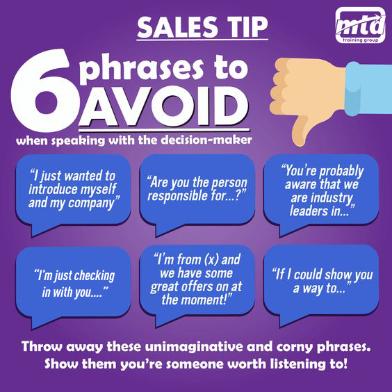 6 Phrases To Avoid When Selling